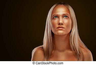 goldenes, aufmachung, dunkel, girl., hintergrund, porträt, blank