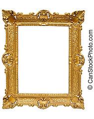 goldenes, ausschnitt, bilderrahmen, plastik, pfad