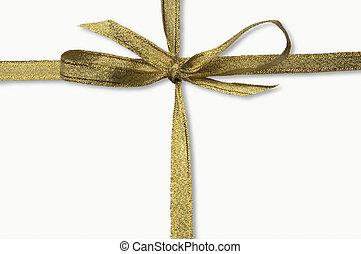 goldenes, ausschnitt, freigestellt, geschenkband, pfad