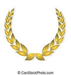 goldenes, auszeichnung, lorbeer