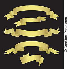 goldenes, banner, (illustration)