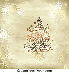goldenes, baum, weihnachten