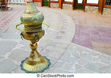 goldenes, behälter, speicherung, ägypten, kohlen, gelber , ...