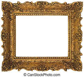 goldenes, bilderrahmen, freisteller