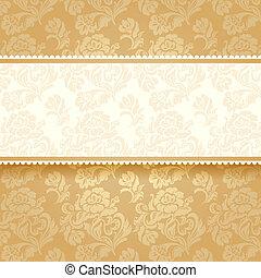 goldenes, blume, quadrat, hintergrund.