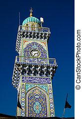 goldenes, clocktower, moschee, al-kadhimiya, bagdad, aka, ...