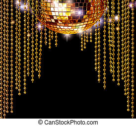 goldenes, discokugel, und, glitzer, vorhänge