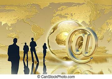 goldenes, e-mail, -, globaler anschluß, erfolg, begriff