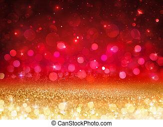 goldenes, -, effekt, lichter, bokeh, hintergrund, rotes , glitzern
