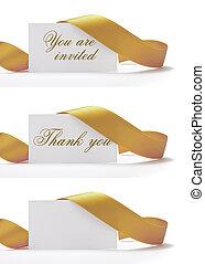 goldenes, eingeladen, danken, gruß, you., vhere, aus, dahin, ihm, einladungen, geschrieben, hintergrund, i'ts, karten, weißes, sie, geschenkband, ungefähr