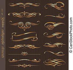 goldenes, elemente, hölzerne beschaffenheit, calligraphic, vektor, design, hintergrund, schwarz