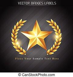 goldenes, etikett, etikett