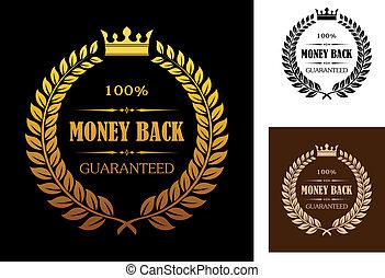 goldenes, etiketten, geld, zurück, garantie