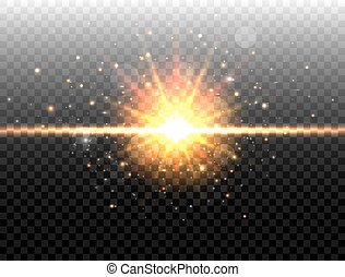 goldenes, explosion, bersten, effect., licht, concept., light., freigestellt, abbildung, hintergrund., vektor, schwarz, stern, sparkles., durchsichtig, glühen