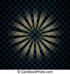 goldenes, explosion., glanz, gold, bersten, effect., hell, design., hintergrund., blitz, freigestellt, funkeln, glühen, glitzer, abbildung, durchsichtig, glühen, scheinen, magisches, stern, flare., vektor, licht, glänzend