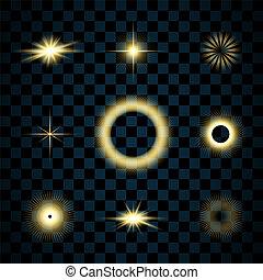 goldenes, explosion., glanz, gold, bersten, effect., hell, design., hintergrund., satz, blitz, freigestellt, funkeln, glühen, glitzer, sternen, abbildung, durchsichtig, glühen, scheinen, magisches, licht, flare., vektor, glänzend