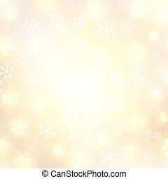 goldenes, fallender , vektor, schnee, hintergrund