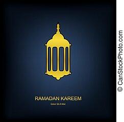 goldenes, fanoos, auf, dunkler hintergrund, für, ramadan, kareem