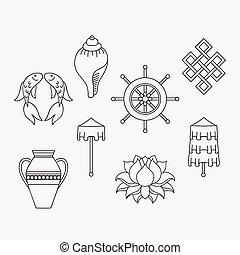 goldenes, fische, blume, right-coiled, lotos, buddhismus, treasure., symbole, symbolik, banner, buddhist, tritonshorn, 8, weißer schirm, zeichnung, blumenvase, auspicious, kostbar, rad, dharma, sieg