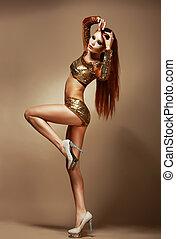 goldenes, frau, shorts., phantasie, dance., nightclub., prächtig, rothaarige, partei kleidung