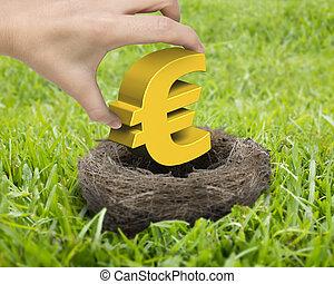 goldenes, frau, symbol, hand holding, nest, euro