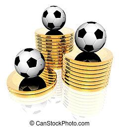 goldenes, fußball ball, geldmünzen, 3d