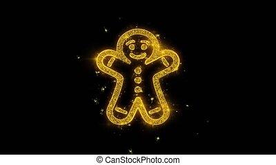 goldenes, funken, feuerwerk, verzierung, partikeln, lebkuchen, weihnachten, mann
