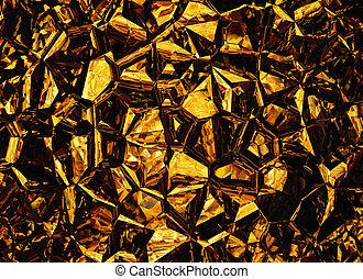 goldenes, gefärbt, erleichterung, kristall, hintergruende