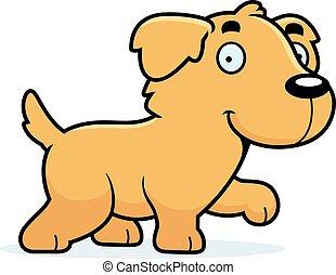goldenes, gehen, karikatur, apportierhund