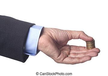 goldenes, geldmünzen, hand