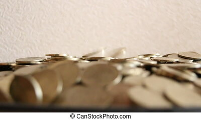 goldenes, geldmünzen, Regen