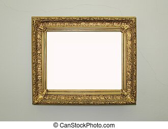 goldenes, gerahmt, spiegel