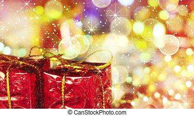 goldenes, geschenk, licht, loopable, kästen, hintergrund, weihnachten