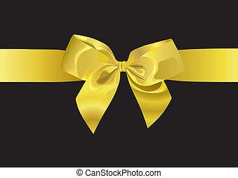goldenes, geschenkband, (illustration)