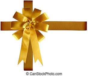 goldenes, geschenkband, und, schleife