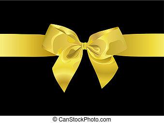 goldenes, geschenkband, (vector)