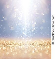 goldenes, glänzend, -, lichter, sternen, fallender , glitzer, weihnachten