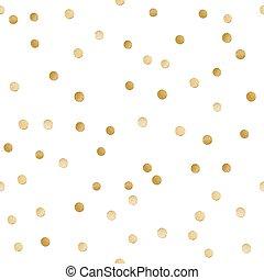 goldenes, glänzend, muster, zerstreut, seamless, polka,...