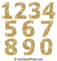 goldenes, glänzend, zahlen, metallisch