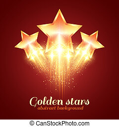 goldenes, glühen, hintergrund, sternen