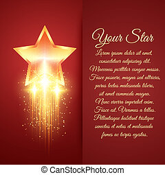 goldenes, glühen, stern, karte