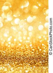 goldenes, glitzer, sternen