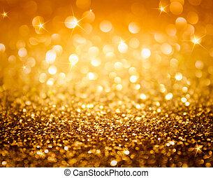 goldenes, glitzer, und, sternen
