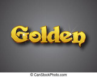 goldenes, gold, groß, schreiben, schriftart, 3d