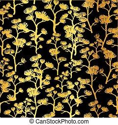 Goldenes gro hintergrund muster einladungen stoff - Tapete asiatisch ...