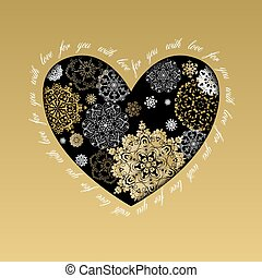 goldenes, herz, liebe, winter, card., design, snowflakes.
