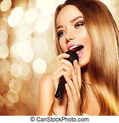 goldenes, jugendlich, aus, mikrophon, hintergrund., glühen, partei mädchen, singende, karaoke