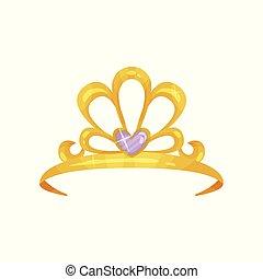 goldenes, königin, krone, mit, kostbar, lila, stein, form, von, heart., glänzend, prinzessin, tiara., teuer, jewelry., frau s, kopf, accessory., bunte, wohnung, vektor, design