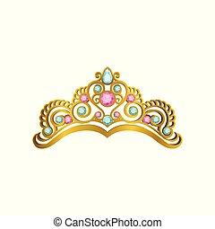 goldenes, königin, krone, mit, kostbar, rosa, blau, stones., vektor, ikone, von, glänzend, prinzessin, tiara, in, realistisch, style., teuer, kopf, zubehörteil