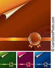 goldenes, königlich, -, abbildung, vektor, siegel